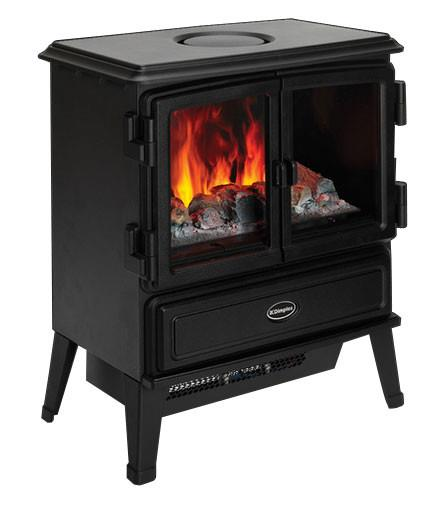 Traditional style freestanding stove Realistic Optimyst flame & smoke effect Two heat settings Suitable...