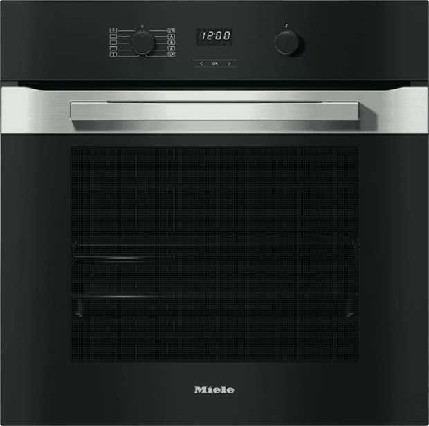 The eye-catching horizontal stainless steel stripe on this Miele PureLine CleanSteel 60cm Oven H 2860 B...