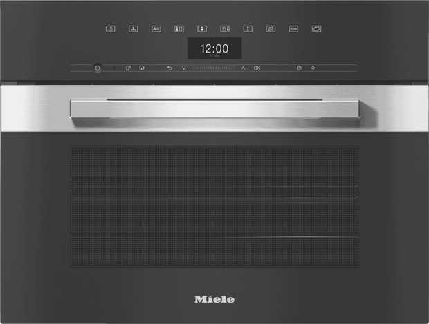 Prepare roast meals, steam fish and vegetables, or gently defrost frozen food with the Miele DGC 7440...