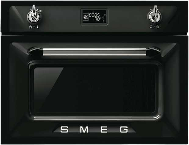 This Smeg oven is a steam oven and has a black finish and is electric powered. Bake multiple meat pies...