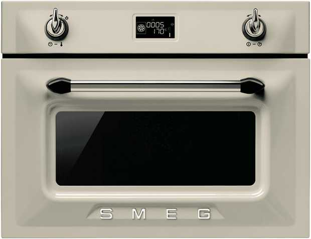 This Smeg oven is a steam oven and features a cream enamel finish and is electric powered. You can fit...