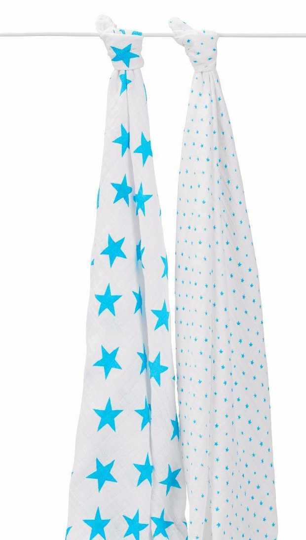Aden And Anais Fluro Blue 2 Pack Classic Swaddles