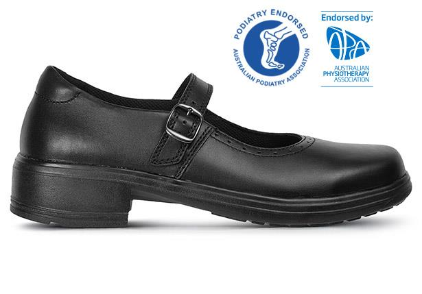 The Ascent Womens Adela Buckle Black is a durable black leather work or school shoe from Ascent...