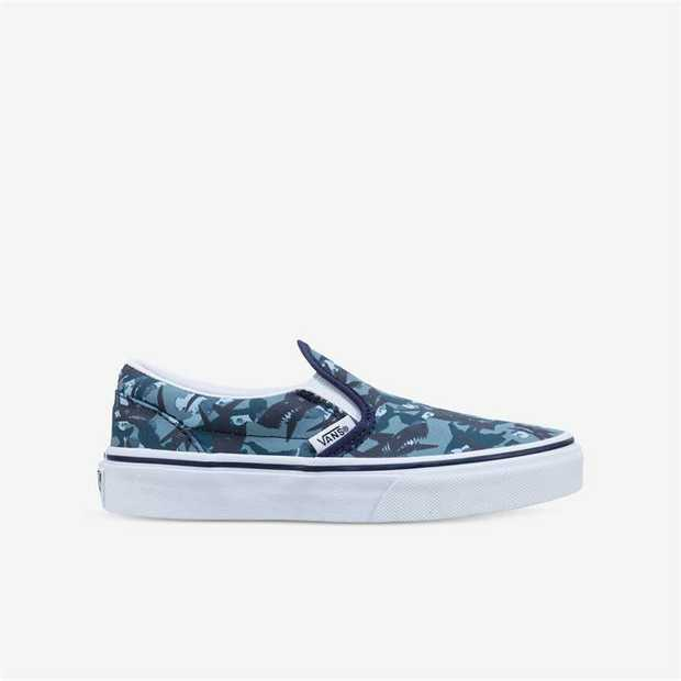 A low profile slip-on shoe, the Vans Kids Animal Camo Classic Slip-On has elastic side accents and...