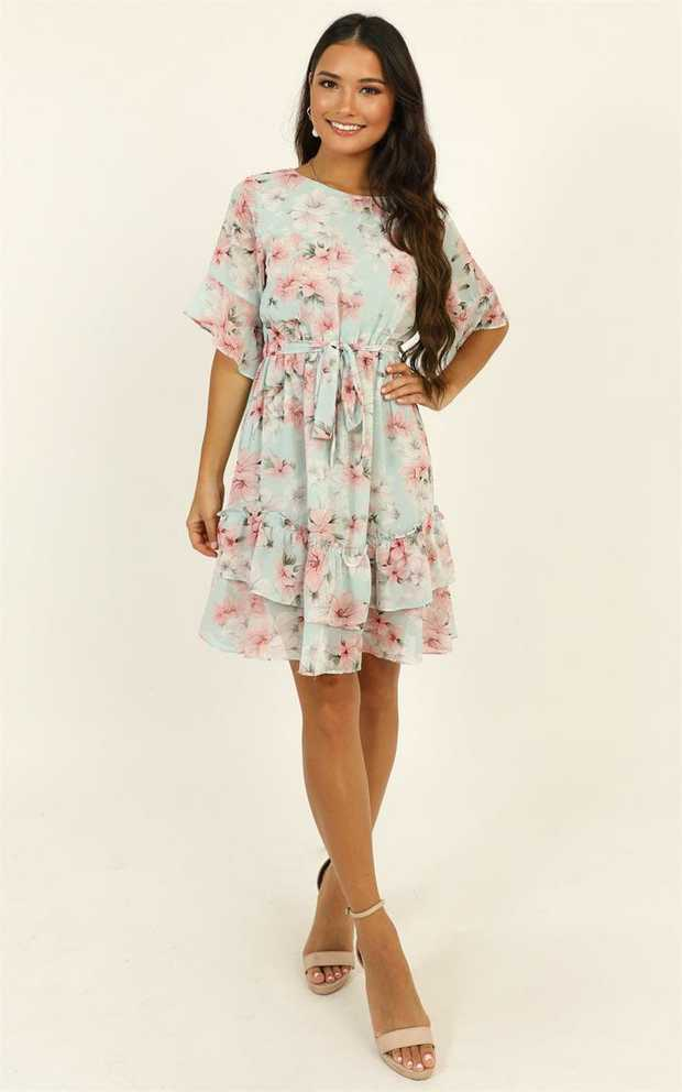 We are majorly crushing on this Self Loving Ruffle Dress! Featuring floral detailing and scoop...