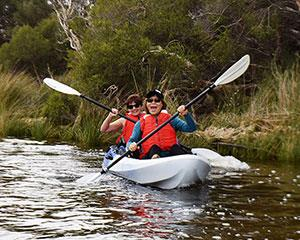 Experience the serenity of Canning River, a calm oasis streaming down the heart of Perth city by kayak.