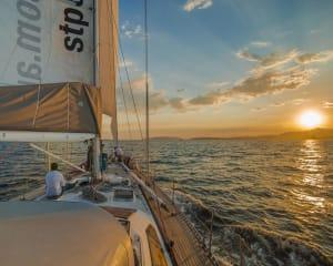 Sail onboard a 62 foot maxi ocean racer in a twilight race on the Derwent River. Helsal IV is an ex...