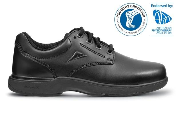The Ascent Mens Apex Snr (wide) Black is a traditional & highly durable black leather school shoe...
