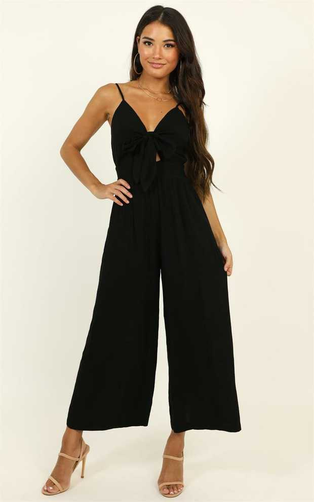 You'll love the Renewed Jumpsuit! This gorgeous piece features a cute self tie front and a full length.