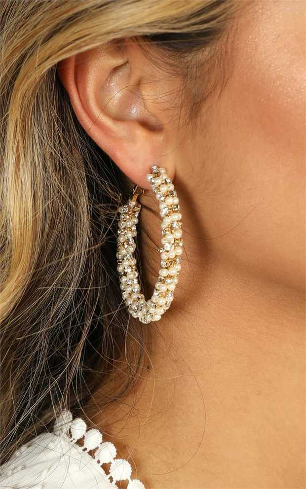 Hoop earringsPearl/Diamonte beaded lookLatch fasteningCare For Me: Avoid Contact With Water...