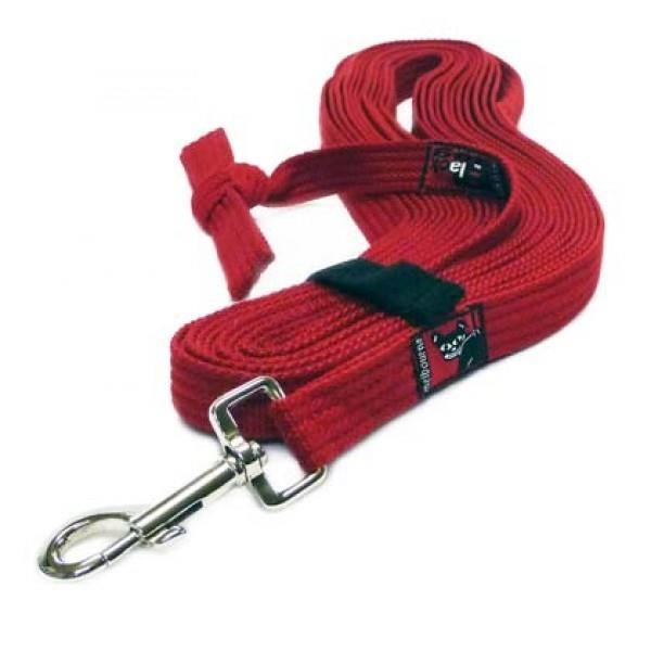 Black Dog Tracking Lead for Recall Training - 11 meters - Mini Width - Red
