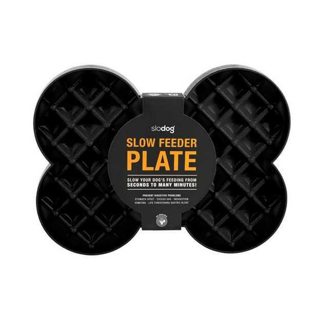 SloDog No Gulp Feeding Plate for Dogs - Black