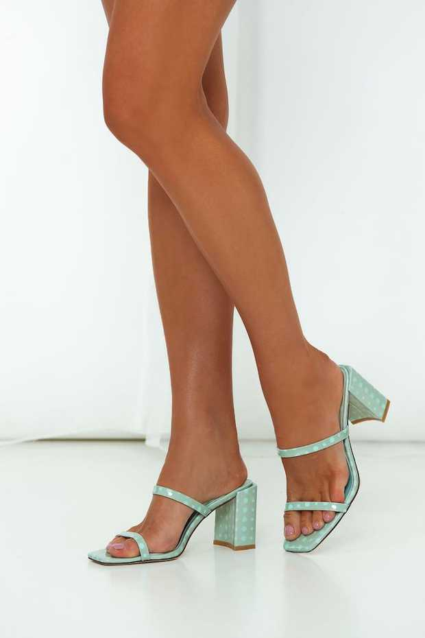 Mint green and blue spot block heel.  Patent leather upper and lining. Non-leather sole.  Slip-on...
