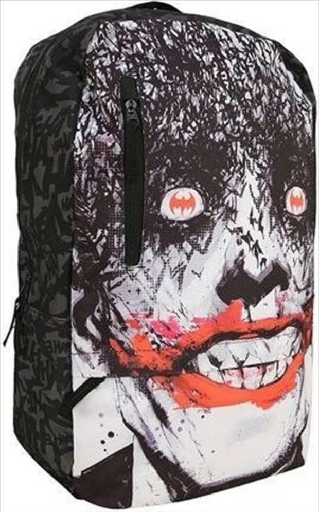 Batman Joker face flat front sublimated unisex backpack bag with 3 zip closures and 1 compartment.