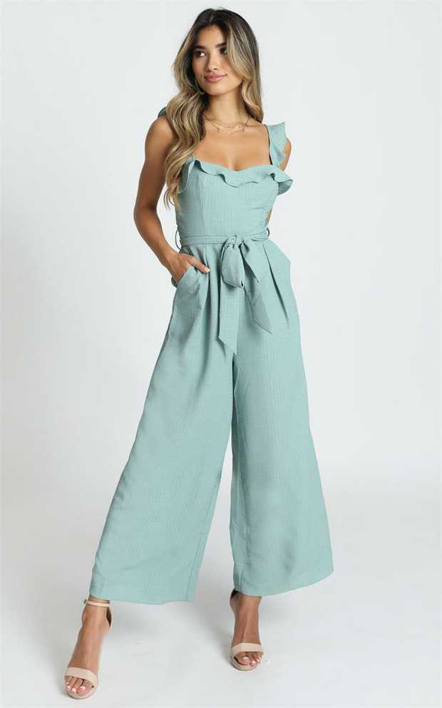 You'll love the Cynthia Ruffle Jumpsuit in sage! This gorgeous jumpsuit features ruffle detailing and a...