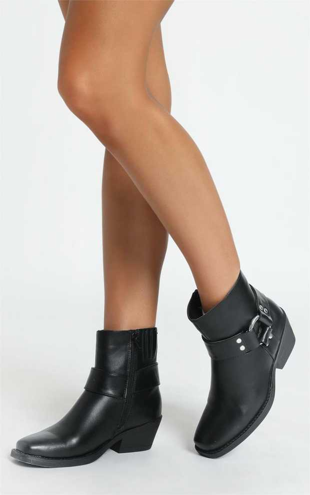 Square toe heeled biker boot with inside zip entry and ring detailMaterial: Croc Embossed Faux Leather...