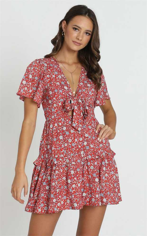 This is the sweetest little skater dress you can find. Our Georgia Tie Front Mini Dress is the perfect...