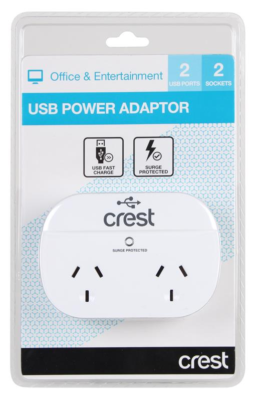 2 USB ports 2 sockets Surge protected USB fast charge