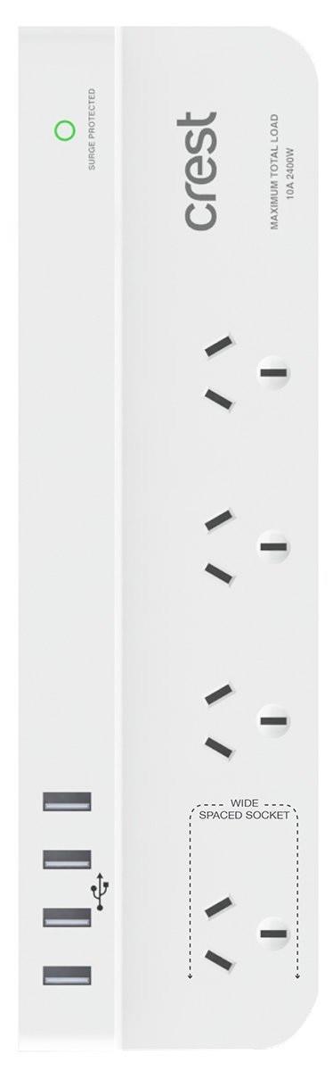 4 Socket, 4 Port USB & Socket Surge Protection Power Board
