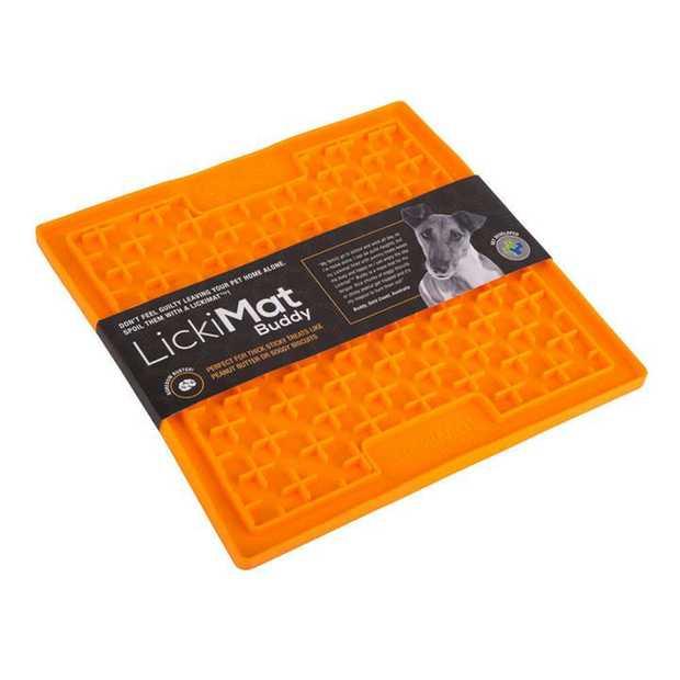 Lickimat Buddy Original Slow Food Anti-Anxiety Licking Mat for Cats & Dogs - Orange