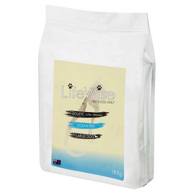 LifeWise Australia Dry Dog Food Ocean Fish with Lamb & Vegetables Large Bites 18kg