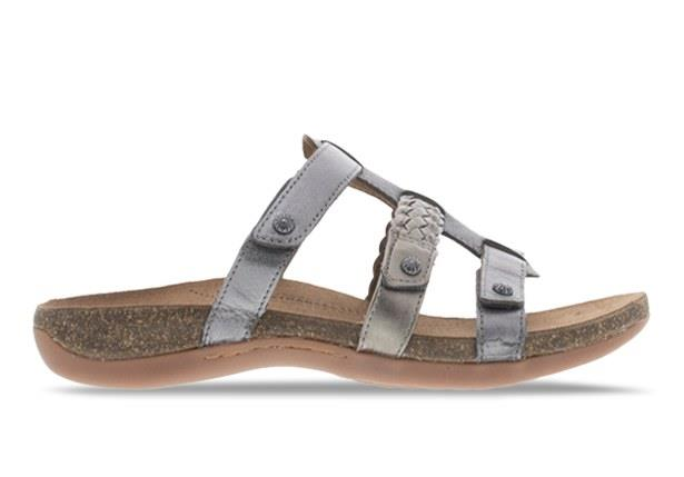 The Ancona slide by Orthaheel is channels a roman style sandal with the three strap across the upper.