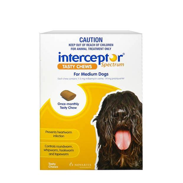 interceptor spectrum chews medium yellow  12 pack | Interceptor dog Flea&Tick; Control | pet supplies|...