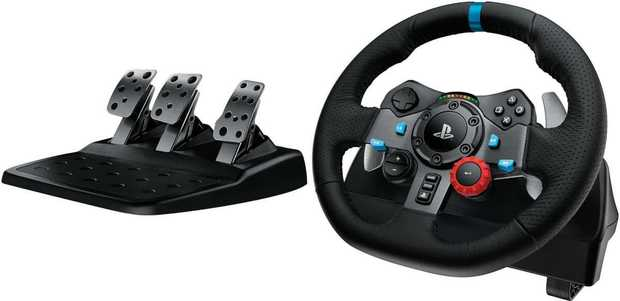 Dual-Motor Force Feedback Easy-Access Game Controls 900° Steering Responsive Floor Pedal Unit Helical...