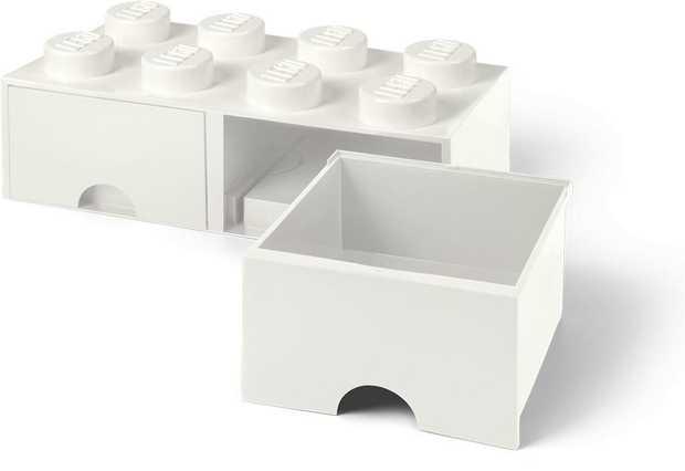 Lego Brick Drawer (8 Knobs) - White