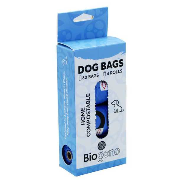 Bio-Gone Biodegradable Home Compostable Dog Waste Bags - 4 Rolls (80 Bags)