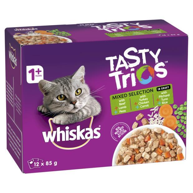 whiskas wet cat food tasty trios mixed selection  5 x 12 x 85g | Whiskas cat food | pet supplies|...