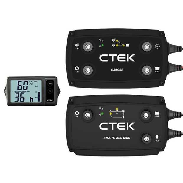 The Ultimate 140A Off ROad Charging System comprises the CTEK D250SA, Battery Monitor and Smartpass 120...