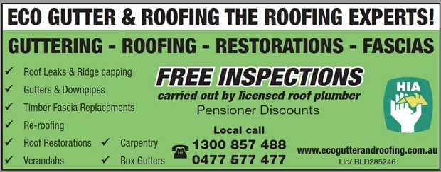 GUTTERING - ROOFING - RESTORATIONS - FASCIAS    Roof Leaks & Ridge capping  Gutters &...