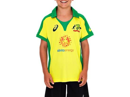 The CRICKET AUSTRALIA REPLICA ODI HOME SHIRT features a lightweight performance polyester with contrast...