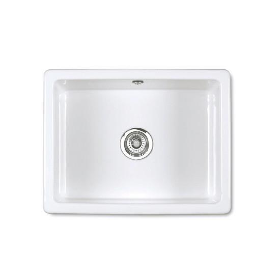 Inset or undermount sink Round overflow Central 90mm waste outlet Made from dense heavy ball fire clay...