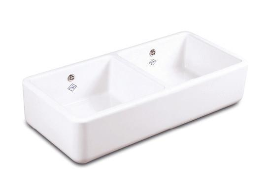 Compact double bowl sink Central dividing wall Central 90mm waste outlets Round overflows Made from...