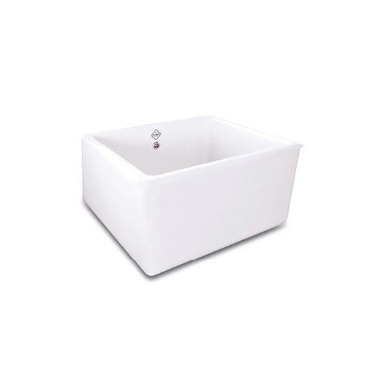 Deep generous single bowl sink 90mm waste outlet Small return lip on top rim Round overflow Made from...
