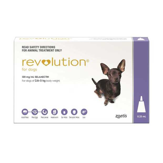 Revolution Flea Control for Dogs 2.6-5kg [Pack Size: Single Dose]