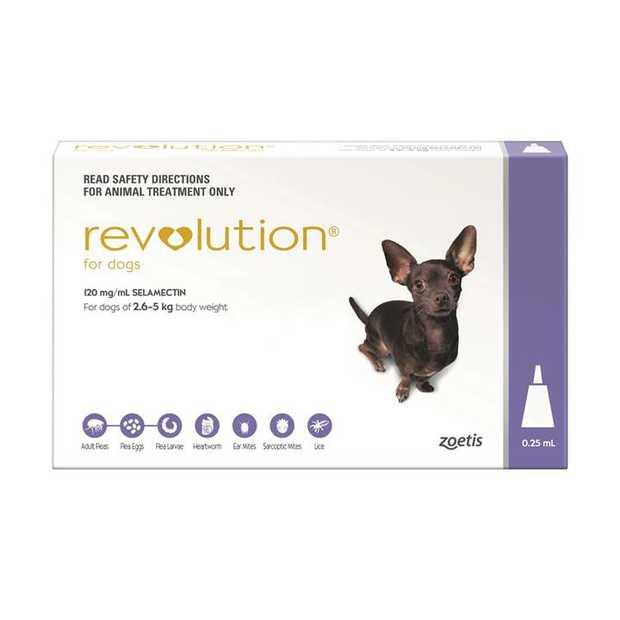 Revolution Flea Control for Dogs 2.6-5kg [Pack Size: Single Dose]