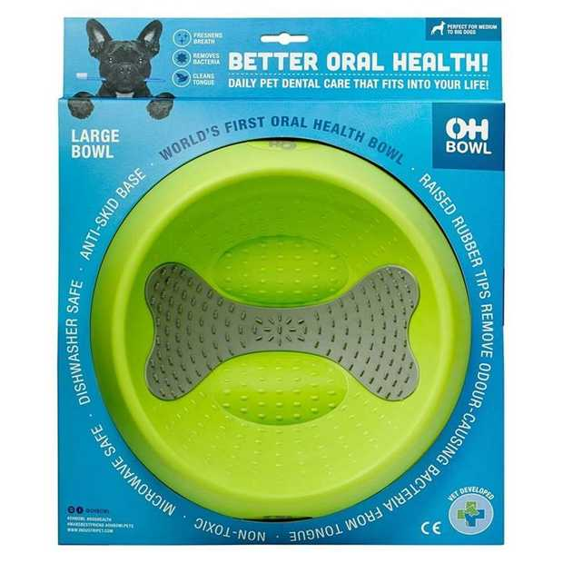 Oh Bowl Slow Food Tongue Cleaning Dog Food Bowl - Green - Medium