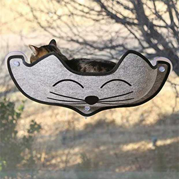 K&H EZ Mount Cat Window Seat Hammock - Grey with Cat's Face - Holds up to 27kg