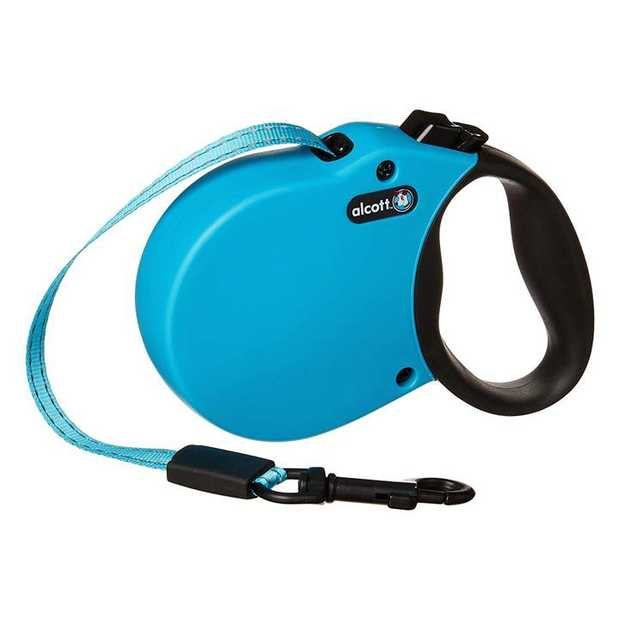 Alcott Flexi-ble Adventure Retractable Tape Dog Leash - Blue - Small
