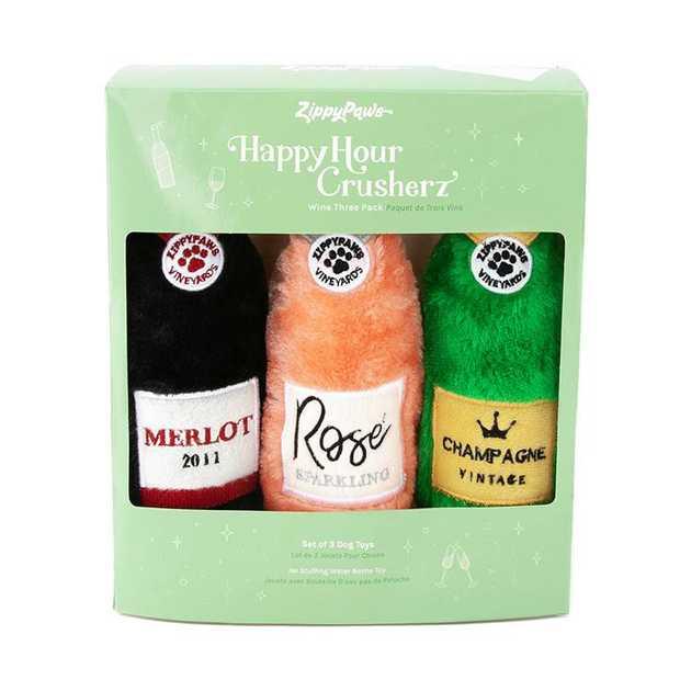 Zippy Paws Happy Hour Crusherz Dog Toy - Wine 3-pack