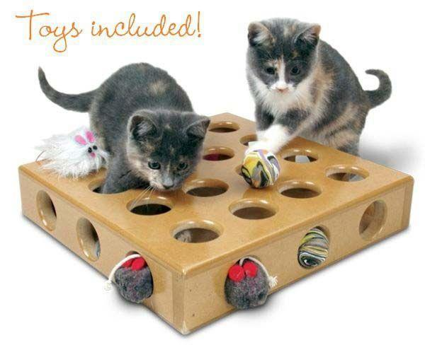SmartCat Peek-and-Prize Large Toy Box Interactive Wooden Cat Toy