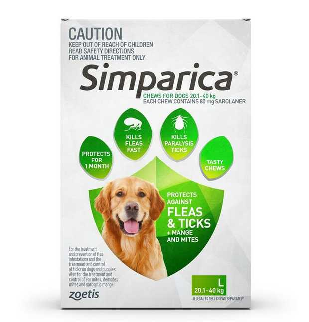 Simparica Flea & Tick Tablets for Large Dogs 20.1-40kgs-Green 6-Pack