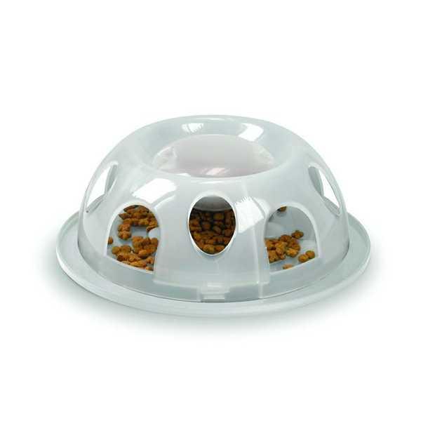 Smartcat Tiger Interactive Plastic Slow Food Bowl for Cats - Transparent White