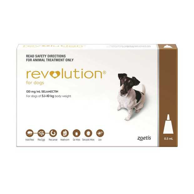 Revolution Flea & Heartworm Control for Dogs 5.1-10kg - 3 Pack