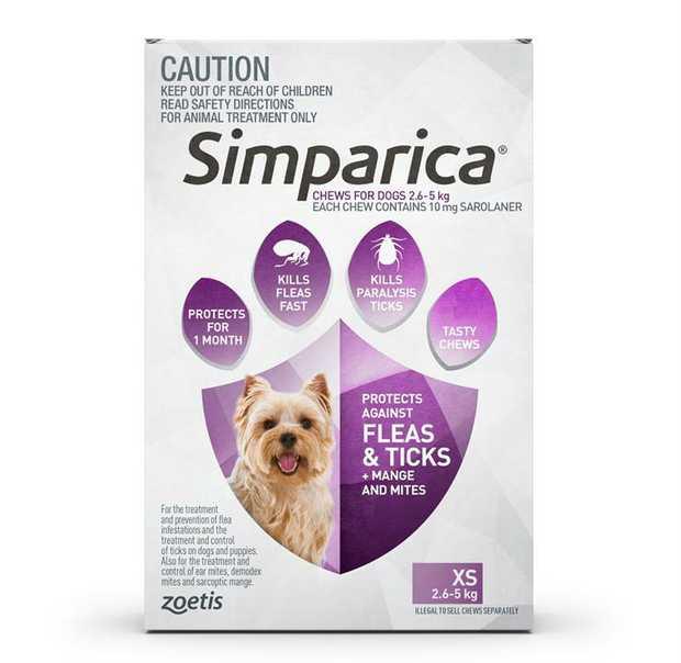 Simparica Flea & Tick Tablets for Puppy Dogs 2.6-5kg - 3-Pack + BONUS SIngle