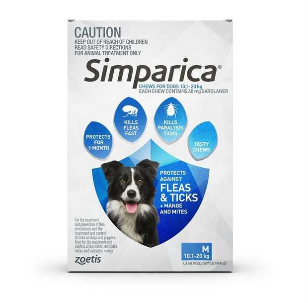 Simparica Flea & Tick Tablets for Medium Dogs 10.1-20kgs-Blue 6-Pack + BONUS 2 Singles