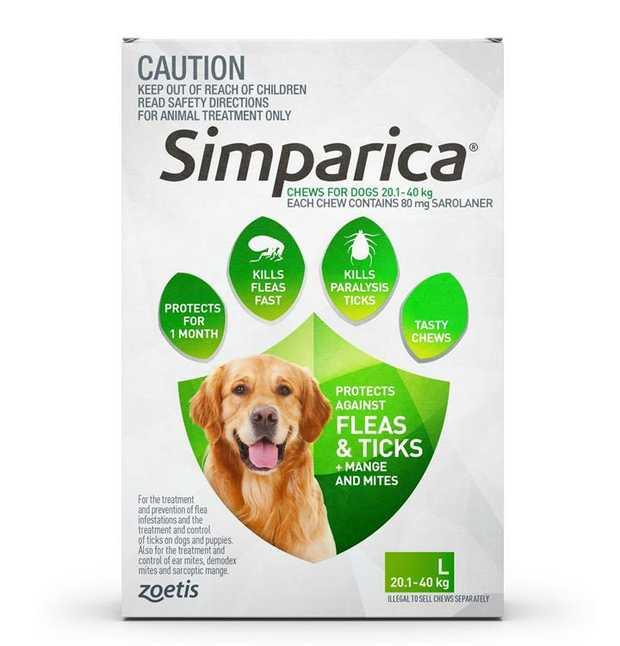 Simparica Flea & Tick Tablets for Large Dogs 20.1-40kgs-Green 6-Pack + BONUS 2 Singles